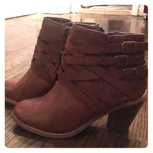 Restricted Brown Leather Ankle Boots